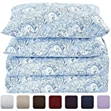 Difference in King Size and California King Mellanni Bed Sheet Set - HIGHEST QUALITY Brushed Microfiber 1800 Bedding - Wrinkle, Fade, Stain Resistant - Hypoallergenic - 4 Piece (King, Paisley Blue)