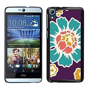 TopCaseStore / la caja del caucho duro de la cubierta de protección de la piel - Old Flower Wallpaper Teal Purple - HTC Desire D826