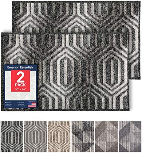 Emerson Essentials 2-Pack Indoor Outdoor Durable Doormat, 36×24, Inside Mats, Low-Profile Rug for Entry, Mud Room Carpets, Front Back Door, High Traffic Area, Non Slip Rubber Backing Absorbent Black