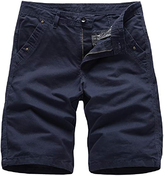 Kankanluck Men's Half Pants Summer Casual Leisure Straight Leg Pocket Short Pants