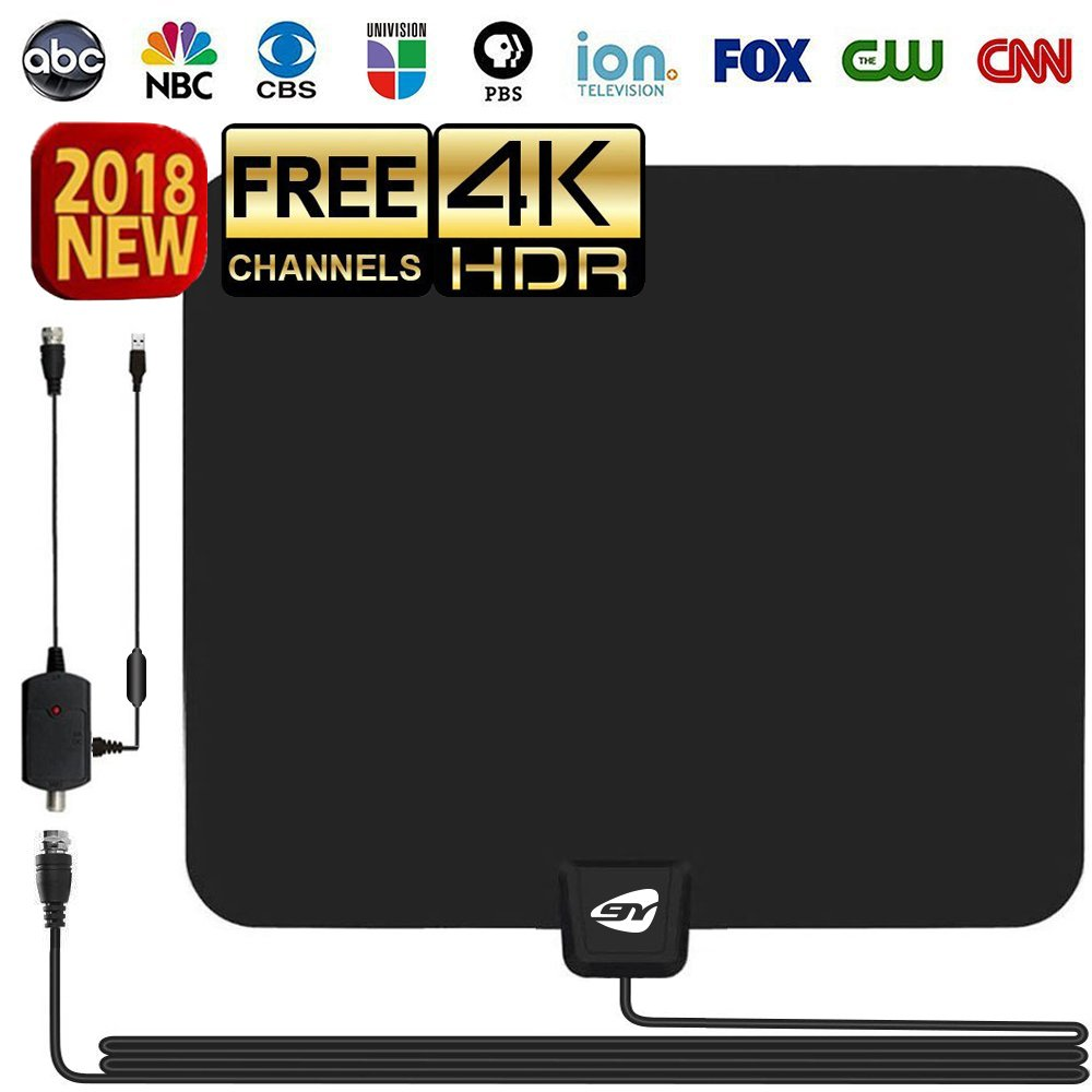HD TV ANTENNA INDOOR,GIAYOUNEER Updated 2018 Newest HDTV Digital 4K/1080P Antennas with Magnetic Ring to Lock Signal and Amplifier Booster, More High-Definition And Free channels, Long enough Coax. by Giayouneer