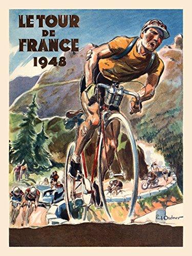 Le Tour De France 1948 Fine Art Vintage Bicycle Poster Print (11 x 17 inches)
