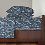 Roostery Camoflauge 4pc Sheet Set I Got The Blues Camo by Whimzwhirled Queen Sheet Set made with
