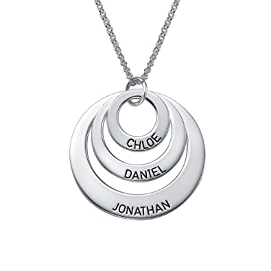 Engraved jewelry for moms three circle necklace custom made pendant wany name for mothers engraved jewelry for moms three circle necklace in 925 silver custom made pendant with aloadofball Choice Image