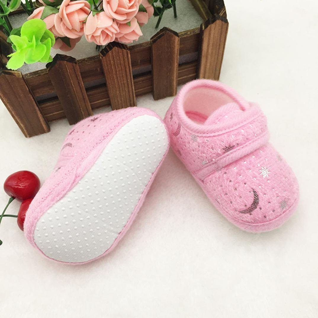 WARMSHOP Toddler Anti-Slip Baby Shoes Starry Sky Printed Soft Coral Fleece Prewalker Shoes