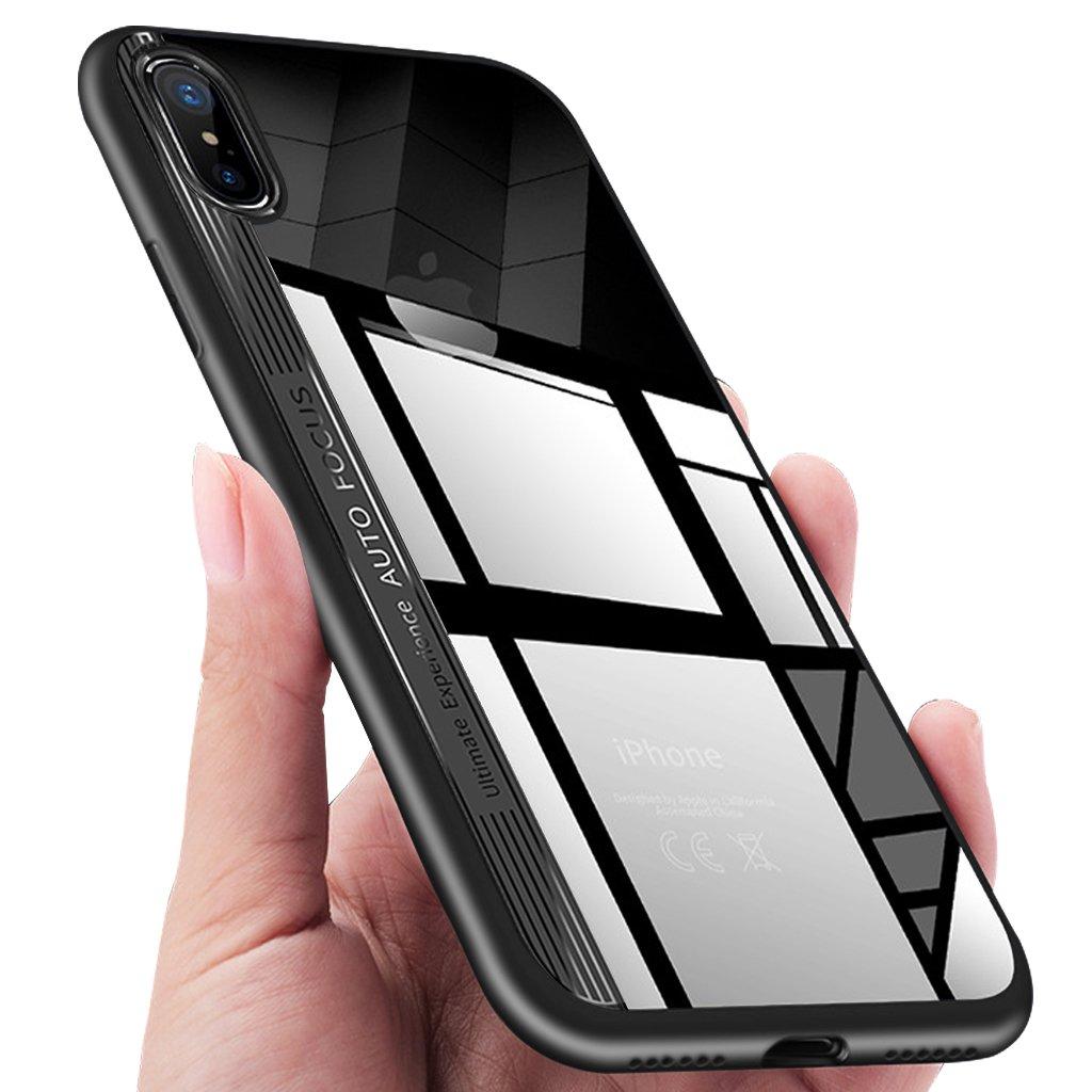 Custodia iPhone X, KKtick iPhone X Caso Ultra Sottile Anti-Graffio Cover Tacsa TPU Silicone Frame Con PC Panel Bumper Shock-Absorption Case Cover per Apple iPhone X Shell (Nero) Ip8RTB0908