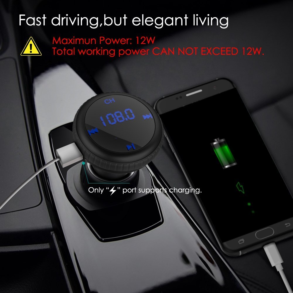 CHGeek Bluetooth 4.2 FM Transmitter 5V/2.1A [Smart Car Locator] Wireless Audio MP3 Player Radio Adapter Receiver Hands-free Car Kit with Dual Port USB Car Charger & LED Display (Black) by CHGeek (Image #6)