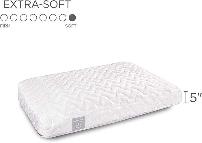Tempur-Pedic TEMPUR-ProForm Cloud Pillow for Sleeping, Extra Soft, Low Profile Premium Foam, Washable Cover, Standard, White