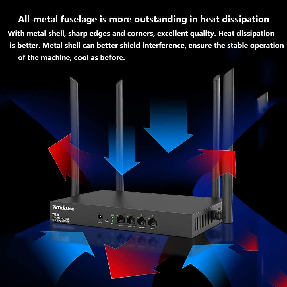 HLKYB Wireless Router AC1200 Dual-Band Gigabit 4 LAN Port Router 5Ghz 2.4Ghz WiFi Router High-Speed Wireless Remote