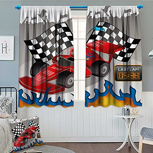 (SeptSonne-Home Kids Decor Thermal/Room Darkening Window Curtains Race Car with Finish Line Flags Pilot and Flames with Abstract Gray Background Customized Curtains 72