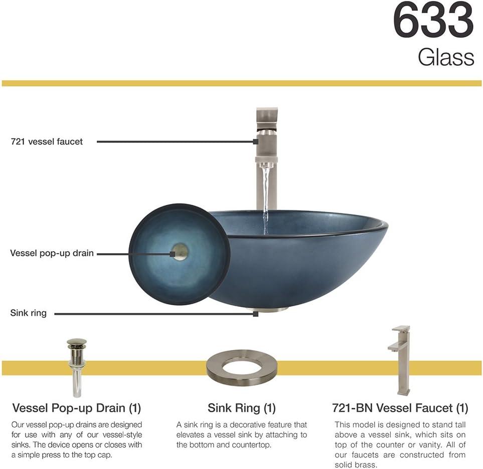644 Chrome Bathroom 731 Vessel Faucet Ensemble Bundle - 4 Items: Vessel Sink, Vessel Faucet, Pop-Up Drain, and Sink Ring