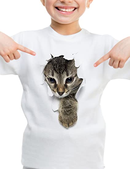 f828fb091b96b Kids Summer Cat Printed T-Shirts 3D Cat White Valentine Tee Shirts Cute  Graphic Family