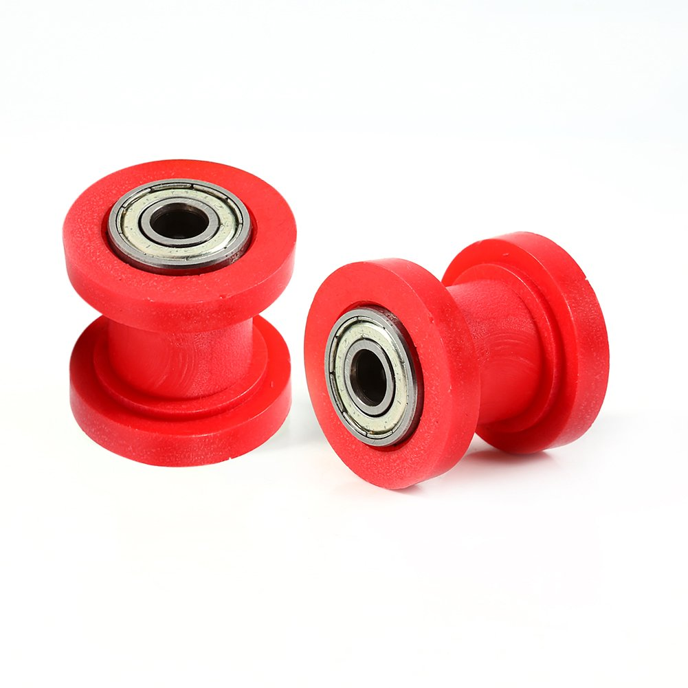 Red Qiilu 10mm Chain Roller Slider Tensioner Wheel Guide Pit Dirt Mini Bike Moto Atv