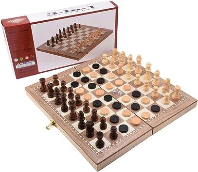 G-Tree 3 en 1 Multifuncional de Madera Juegos de Mesa Juego de ajedrez - Ajedrez y
