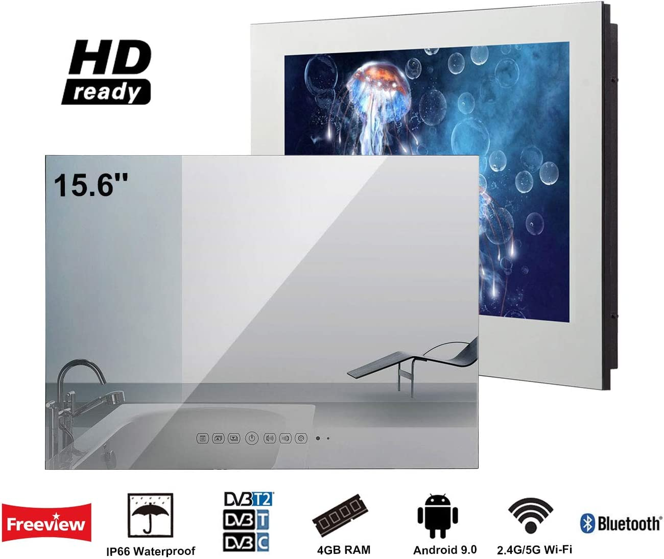 Soulaca innovativtv LED Andriod Smart TV Baño Espejo Frontal 15.6 ...