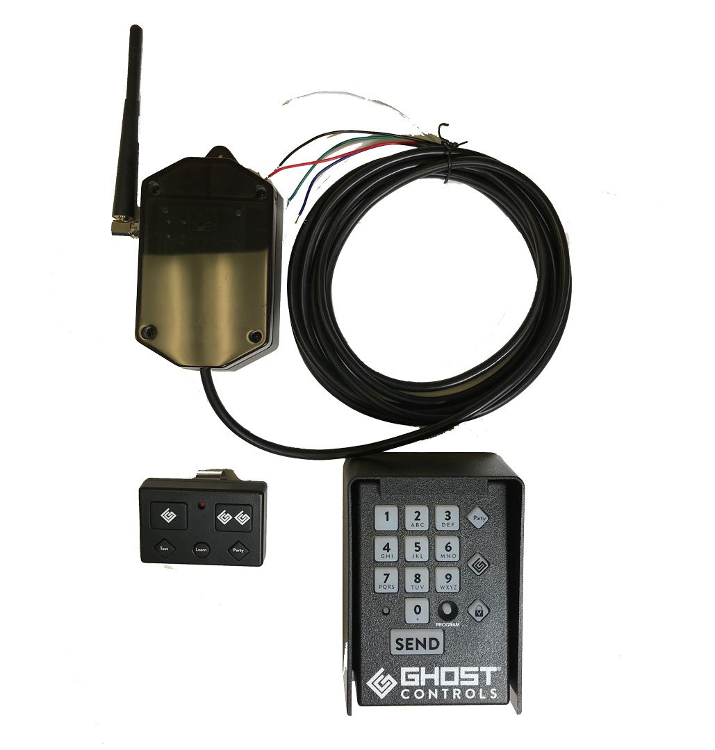 Ghost Controls Universal Receiver Kit with RF Receiver, AXP1 Premium Remote Transmitter, and AXWK Wireless Keypad
