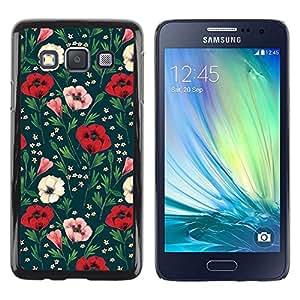 FECELL CITY // Duro Aluminio Pegatina PC Caso decorativo Funda Carcasa de Protección para Samsung Galaxy A3 SM-A300 // Floral Flowers Green