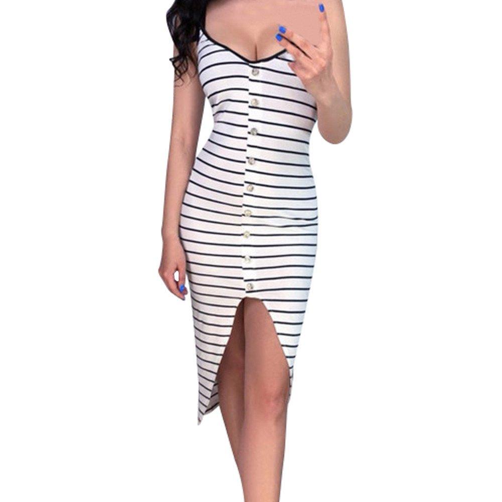 Yamally Women's Summer Long Beach Dress,2019 New Women Casual Sundress Sleeveless Striped Loose Long Maxi Beach Dress White