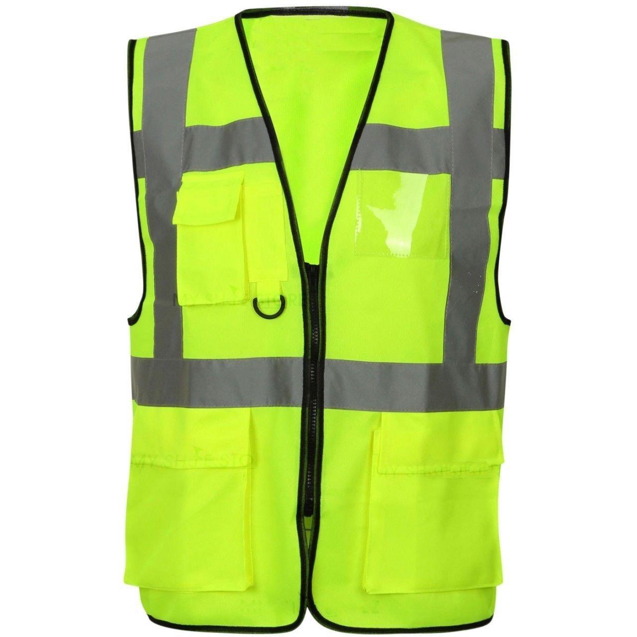 Overdose® Hi Viz Executive Vest High Visibility Work Waistcoat Mens Gillet Shirt Reflective Tape Safety Security Work Wear Ladies Vis Safety Top