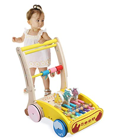 Kidsidol - Andador de madera para bebé, plegable, ajustable ...