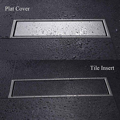 Hanebath linear shower drain floor strainer with tile for 12 inch floor drain cover