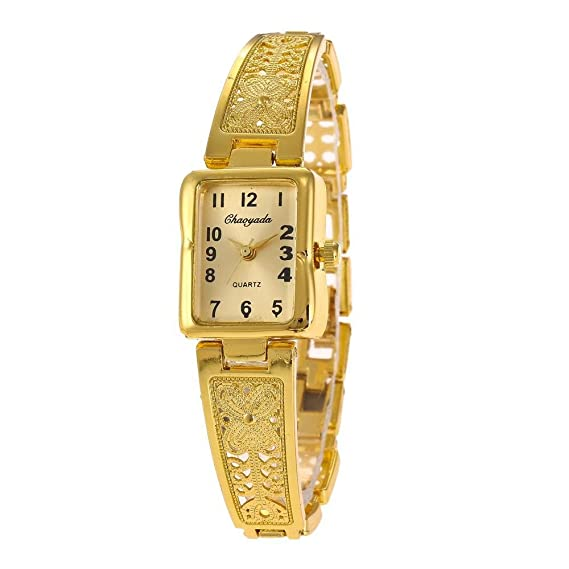 YAZILIND cuarzo reloj de pulsera rectangular dial reloj de acero de titanio exquisito reloj (oro