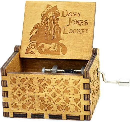 Caribe Davy Jones caja de música manivela antigua caja de madera ...
