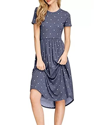 9d5b18ad22f2 GAMISOTE Womens Summer Short Sleeve T Shirt Dress Empire Waist Polka ...