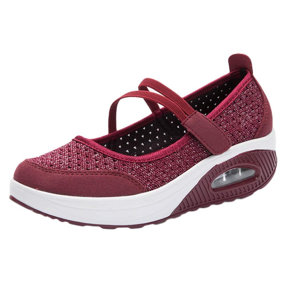 GINELO Women Mesh Shoes Thick Bottom Platform Shoes Air Cushion Women's Shoes Rocking Shoes