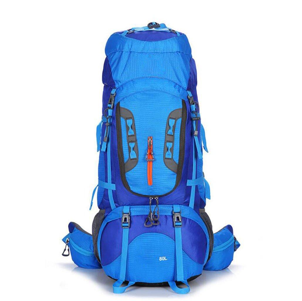 アウトドア 大容量 登山用バッグ レジャー 旅行用ブラケット キャンピングバッグ ファッション 男女兼用 ショルダーバッグ 80L B07HGXKDR2 ブルー Size