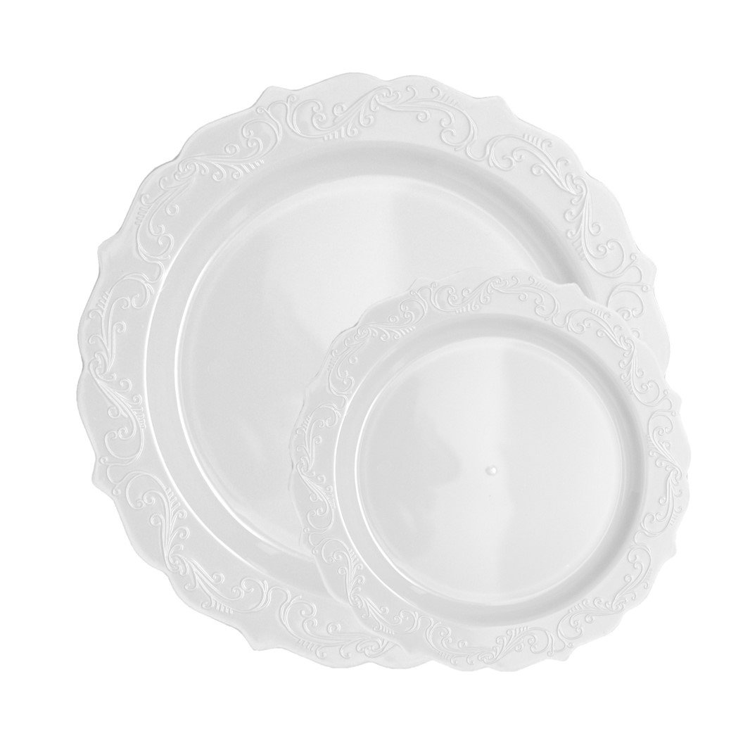 Posh Setting Elegant Collection White Plastic Disposable Dinnerware Set, Wedding Plastic Dishes For 40 Guests (40 10.25'' Dinner Plates and 40 7.25'' Salad Plates), Fancy Disposable Dinnerware