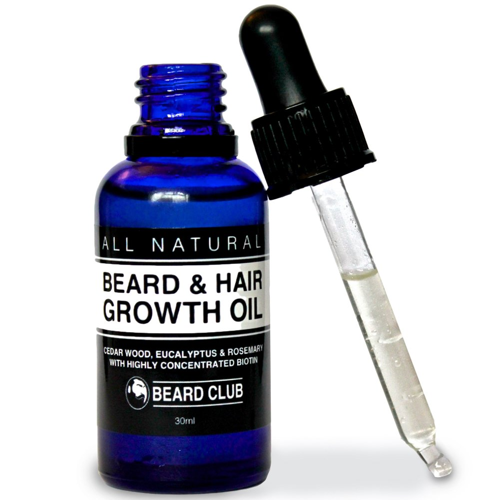 Hair & Beard Growth Oil | 30ml | With Highly Concentrated Biotin | Scented with Cedarwood, Eucalyptus & Rosemary | The Best Solution to a Patchy Beard | + Bonus eBook The Beard Growers Diet Plan Red King Products