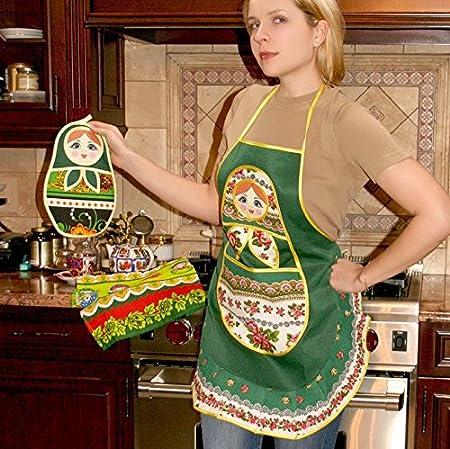 Nesting Doll Red Kitchen Apron 100/% Cotton Matryoshka Khokhloma Pattern