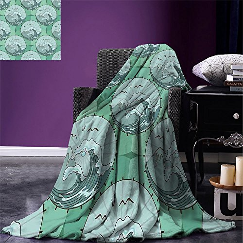Gull Circle - smallbeefly Nature Digital Printing Blanket Wave Mountain and Seagulls Nature Scenery in Circle Chinese Umbrella Pattern Art Summer Quilt Comforter Green Blue