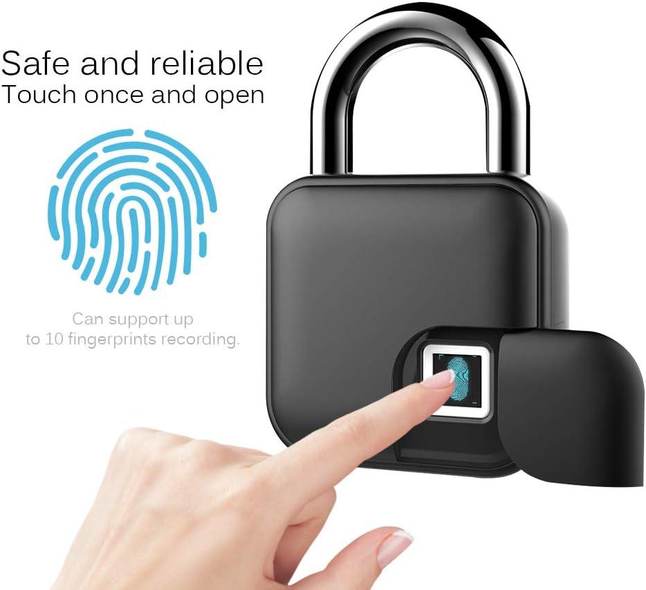ONEVER Fingerabdruck-Vorh/ängeschloss Smart Keyless Fingerprint Lock IP65 Wasserdichtes Diebstahlsicherungs-Vorh/ängeschloss f/ür Fahrradt/ür-Gep/äck-Garagentor