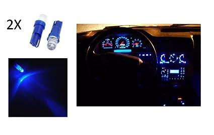 2 bombillas de posición LED azul T5, de 12 V, luz de habitáculo de