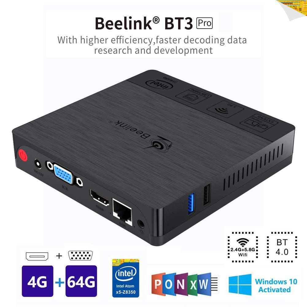 Beelink BT3PRO II Mini PC Ordenador de Sobremesa Soporte Windows 10 con Puertos HDMI VGA, Procesador Intel Atom X5-Z8350, 4GB + 64GB, WiFi de Banda Dual 2.4G / 5G, 4K, BT 4.0, LAN de 1000 Mbps