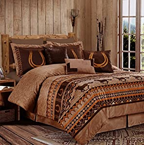 Sedona By Chezmoi Collection 7-piece Southwestern Wild Horses Microsuede Bedding Comforter Set (Queen)