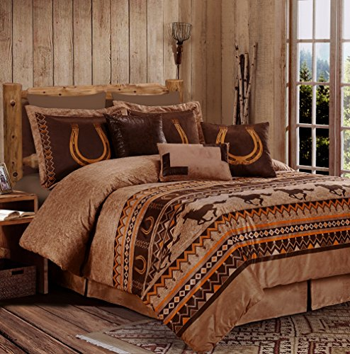 Sedona By Chezmoi Collection 7-piece Southwestern Wild Horses Microsuede Bedding Comforter Set (Queen) (Horse Bedroom Set)