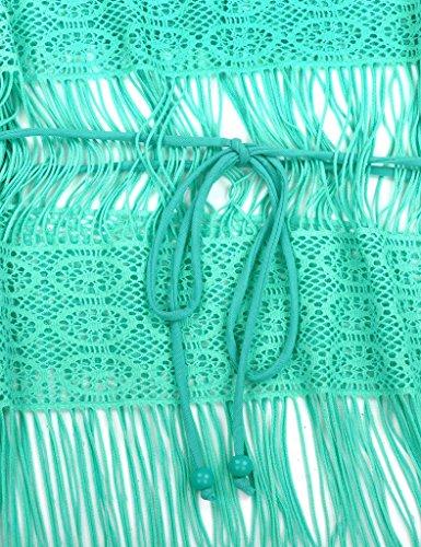 RELLECIGA ropa de playa para mujeres túnica con ganchillo Verde