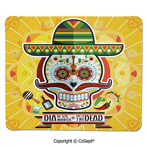 Premium-Textured Mouse pad,Mexican Sugar Skull with Tacos and Chili Pepper November 2nd Colorful Art,Non-Slip Water-Resistant Rubber Base Cloth Computer Mouse Mat (7.87