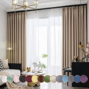 "Leadtimes Beige Insulated Blackout Curtains 84 Inch Long Bedroom Taffeta High Shadding Grommet Window Treatment (Beige, 72"" W x 84"" L)"