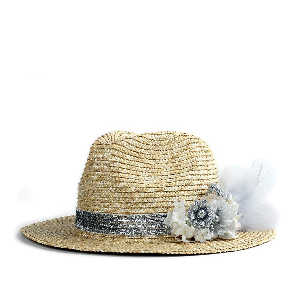 MUMUWU Sun Hat Women Straw Cap Fashion Chic Summer Flower Straw Hat Sunscreen Visor Lady Panama Hat (Color : 1, Size : 56-58CM)