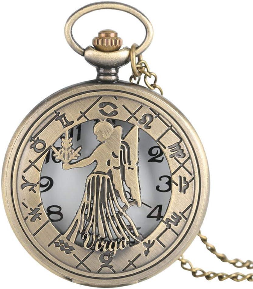 HANXIAO Relojes de Bolsillo Virgo Collar Signo del Zodiaco Vintage Reloj de Bolsillo de Cuarzo Astrología Colgante Regalo Hombres Mujeres Bebé