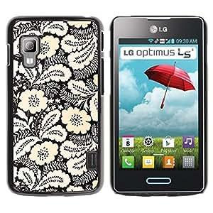 TopCaseStore / la caja del caucho duro de la cubierta de protección de la piel - Ink White Black Floral Pattern Stylish - LG Optimus L5 II Dual E455 E460