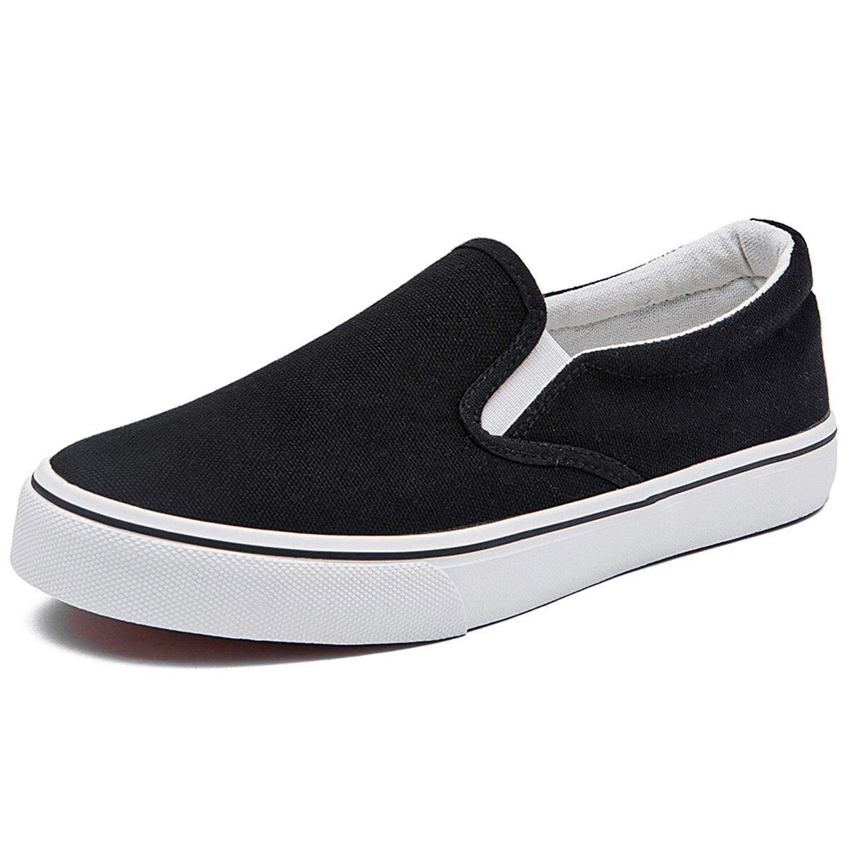 Women's Canvas Slip On Sneakers Fat Loafers Casual Shoes (US9, Black)