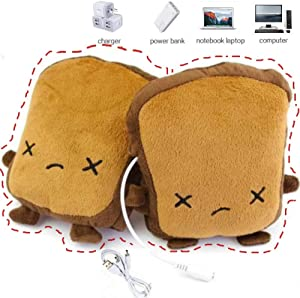 USB Hand Warmers Cute USB Heating Gloves Half Wearable Fingerless 5V USB Powered Heated Hand Warmer Gloves with Gift Box for Women and Children Winter Fashion (Brown)