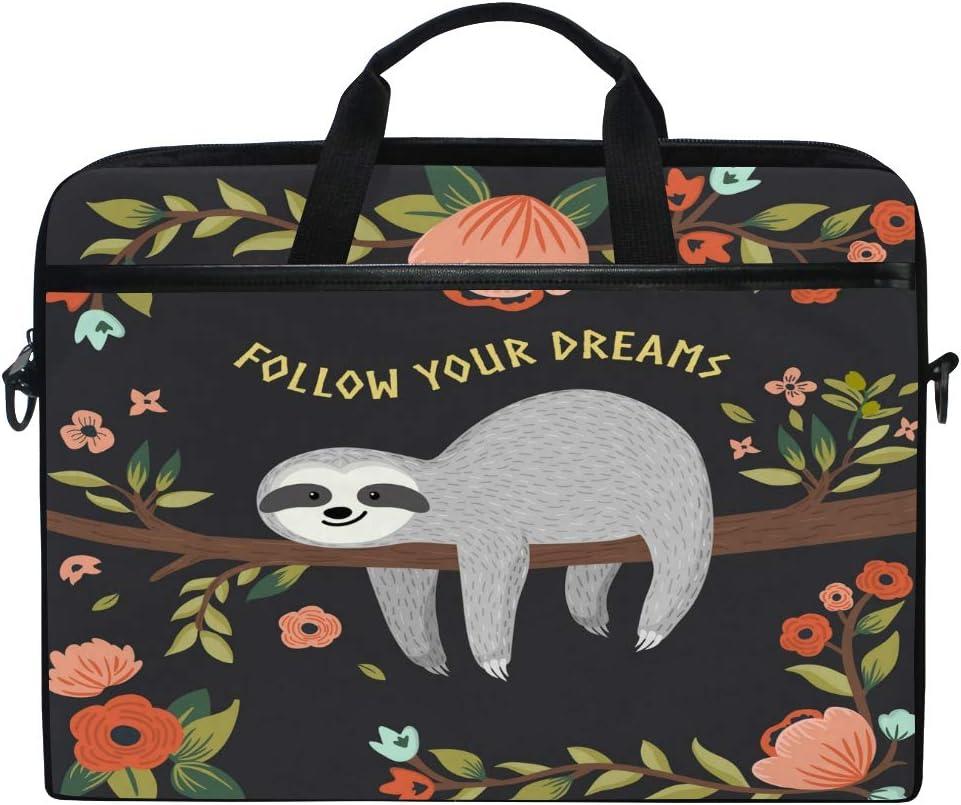JOKERR Laptop Case Bag Floral Flower Sloth Quote 14 inch to 14.5 inch Briefcase Messenger Computer Sleeve Tablet Bag with Shoulder Strap Handle for boys girls