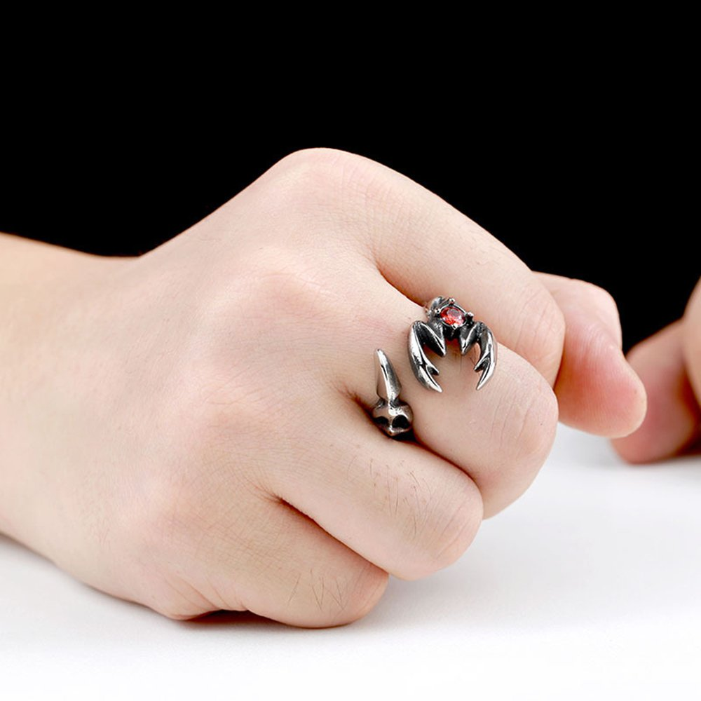 LILILEO Jewelry Stainless Steel Retro Mosaic Red Zircon Scorpion ...
