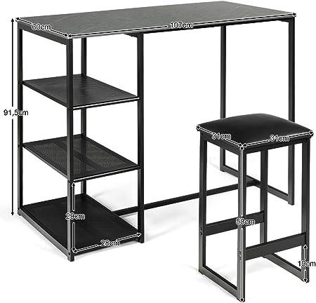 COSTWAY Barra de Cocina con 2 Taburetes Estructura de Metal Juego de 3 Piezas Mueble para Comedor Bar (Negro)